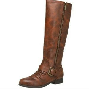 Brown Zip-up Riding Boots